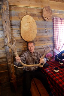 Man with male reindeer antler