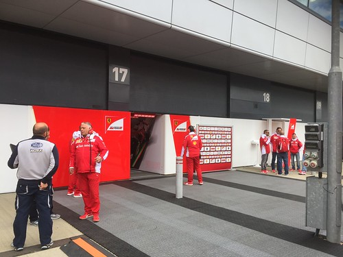 The Ferrari garage during Formula One In Season Testing at Silverstone, July 2016