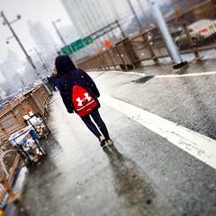 Under Armour Girl #underarmour #brooklynbridge #nyc #newyork #snow #girl #usa #nofilters