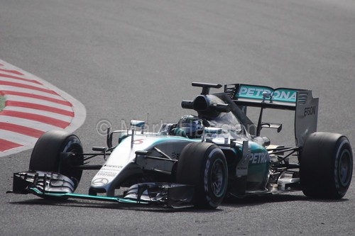 Nico Rosberg in his Mercedes in Formula One Winter Testing 2015