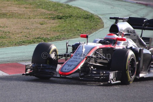 Jenson Button in his McLaren in Formula One Winter Testing 2015