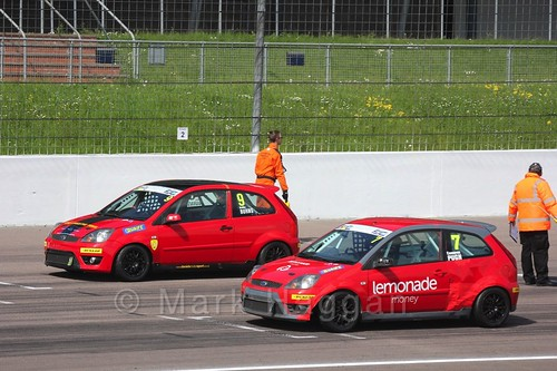 Bradley Burns and Cameron Pugh in Fiesta Junior Racing during the BRSCC Weekend at Rockingham, May 2016