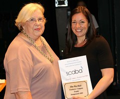 Sally Coleman presenting Vickie Curran with the Pip Hall award -  B section best compereconductor