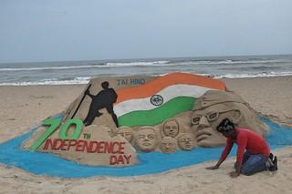 70th Independence Day Sand Art at Puri Beach by Manas Kumar Sahoo