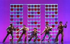 """Reed L. Shannon (Michael Jackson – center) with the Jackson 5 in the Broadway Sacramento presentation of """"Motown The Musical"""" at the Sacramento Community Center Theater May 18 – 29, 2016. Photo by Joan Marcus."""