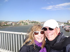 Windy on Erzebet Bridge on the way to Gellert Hill this morning