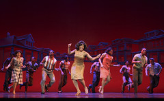 """Patrice Covington (Martha Reeves - center) and the company of the Broadway Sacramento presentation of """"Motown The Musical"""" at the Sacramento Community Center Theater May 18 – 29, 2016. Photo by Joan Marcus."""