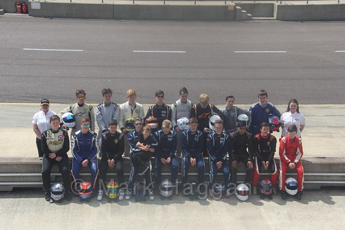 The Fiesta Junior Drivers during the BRSCC Weekend at Rockingham, May 2016
