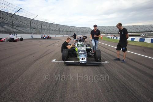 Zane Goddard on the British F4 grid at Rockingham, August 2016