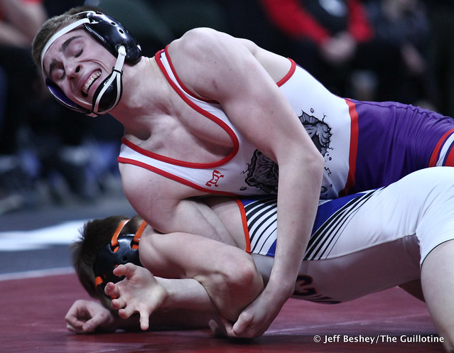 132A 1st Place Match - Jackson Hale (Grand Meadow-Leroy-Ostrander- Southland) 41-3 won by decision over Mason Gode (LPGE-Browerville Wolves) 50-1 (Dec 3-0). 190302CJF0269