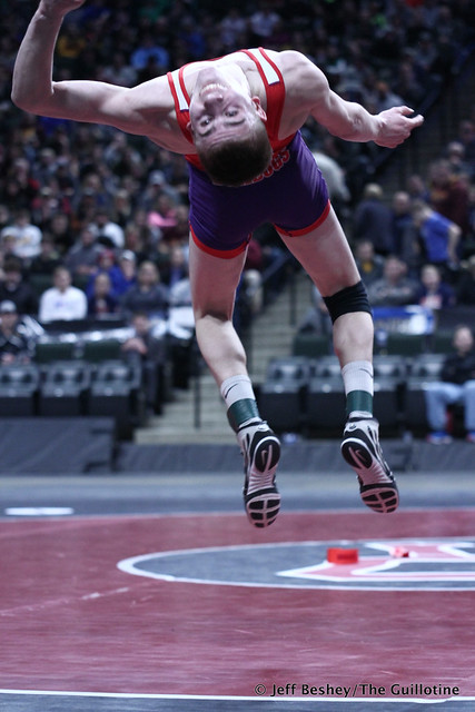 132A 1st Place Match - Jackson Hale (Grand Meadow-Leroy-Ostrander- Southland) 41-3 won by decision over Mason Gode (LPGE-Browerville Wolves) 50-1 (Dec 3-0). 190302CJF0317