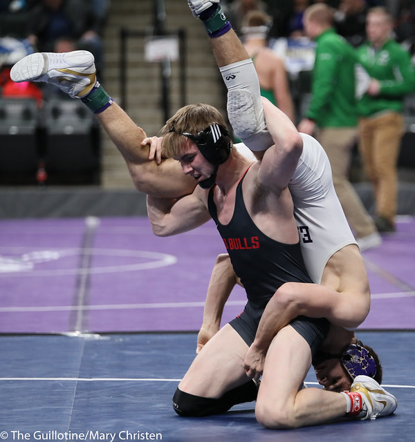 145AA 3rd Place Match - Sean Howk (New Ulm Area) 45-3 won in sudden victory - 1 over Payton Anderson (Fairmont-Martin County West) 45-9 (SV-1 4-2). 190302BMC3784