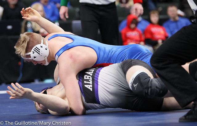 195AA Semifinal - Grant Parrish (Kasson-Mantorville) 29-5 won by decision over Gabe Zierden (Albany) 45-5 (Dec 15-10). 190302AMC3470