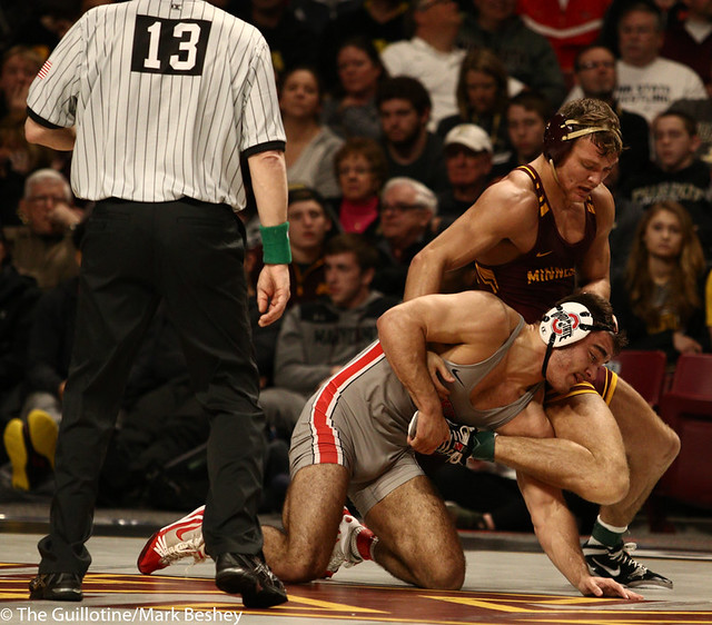 Cons. Semi - Devin Skatzka (Minnesota) 26-8 won by major decision over Ethan Smith (Ohio State) 18-11 (MD 14-4) - 190310cmk0079
