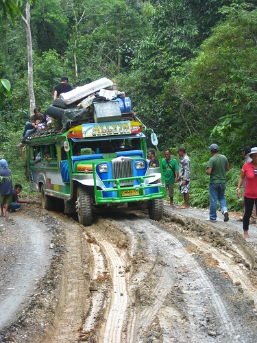we rode on the top of this jeepney to port barton