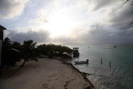 Sunset on Caye Calker at Lazy Lizzard