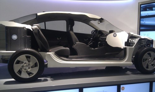 Meet the demo car. Spilling its guts.