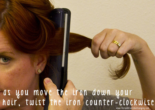 twist as you move the iron down your hair
