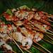 seafood skewers with salsa verde