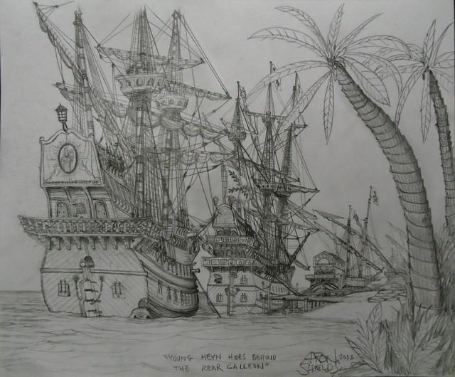 Heyn hides behind the galleon