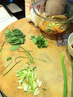 Mint, basil, spring onions