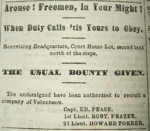 Civil War recruitment ad listing Howard Forrer as Second Lieutenant