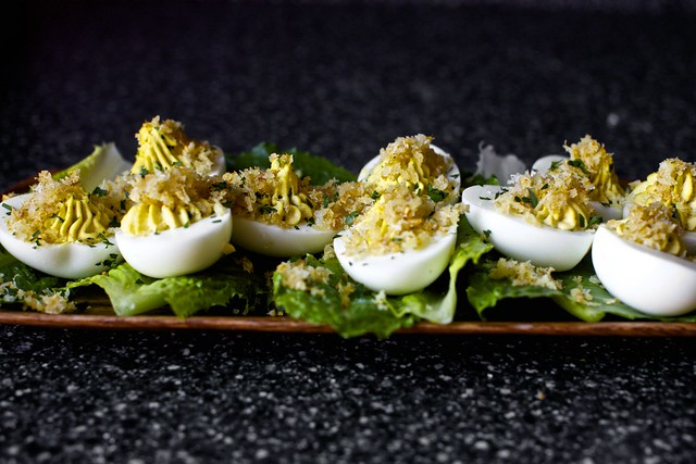 garlic crumb-ed deviled eggs