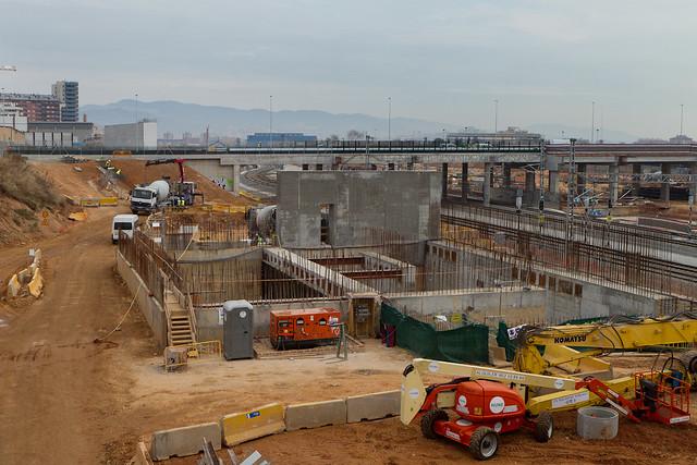 Pont del Treball - Norte - Obras del metro Linea 9 - 27-01-12