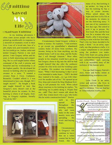 OM Times Magazine - Yarn Therapist Dec 2011 : Gregory Patrick - Knitting Saved My Life by deZengo