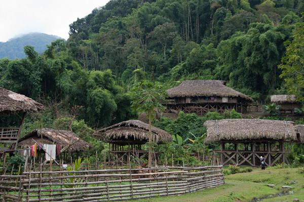 poblat amb cases de bambu i camps verds de herba