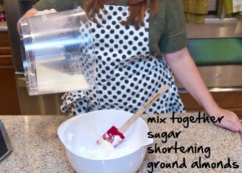 mix shortening, sugar, and ground almonds