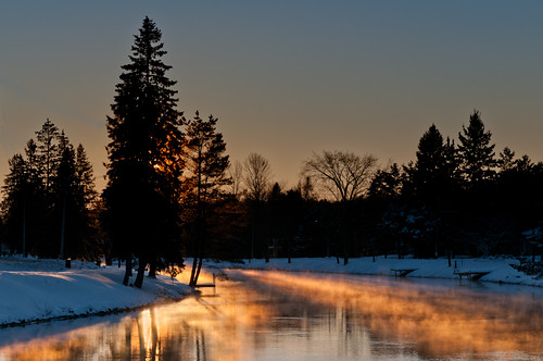 Sunset over Minden Riverwalk Park, by Pavel M