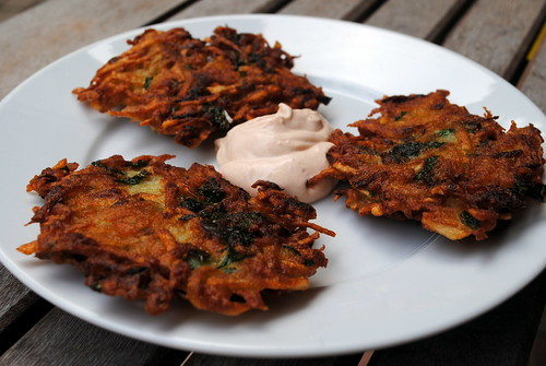 Cilantro-Jalapeño Latkes with Chipotle Sour Cream