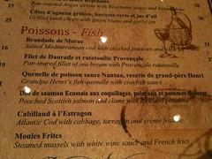 Fish menu, Brasserie Gavroche, 66 Tras Street, Singapore