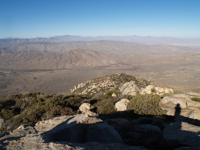 View northeast with Santa Rosa Mountain, Toro Peak, and the long ridgeline to Villager and Rabbit. Our car was parked just to the right of that green patch on the left side of the picture. That's San Jacinto on the farthest left horizon.