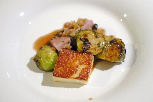 duck, wild mushrooms, brussels sprouts, skin-breast-sauce, roman gnocchi