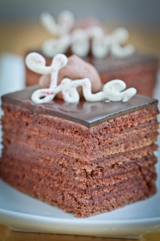 8 Kahula Soaked Chocolate Layers, frosted with Truffle Frosting makes one BomB of a combination! If you like truffles, get ready to be impressed!