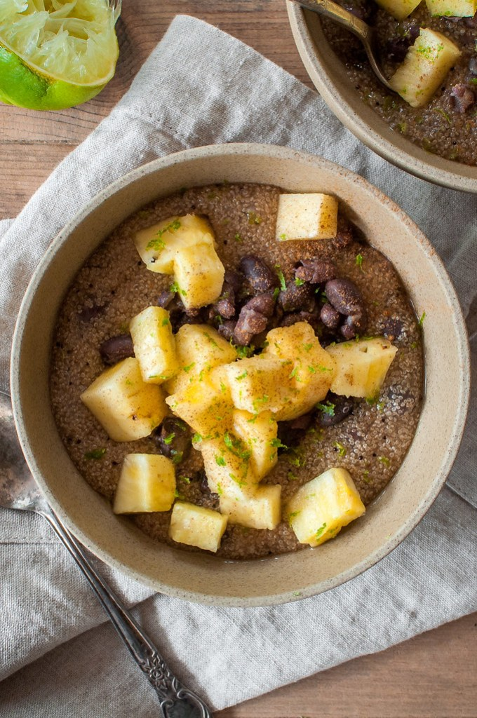 Tropical amaranth breakfast bowl with beans for protein