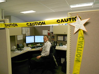 Caution tape in the Command Center!
