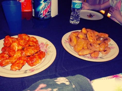 Hour 9: The carnage begins. Jalapeno poppers & hot wings.