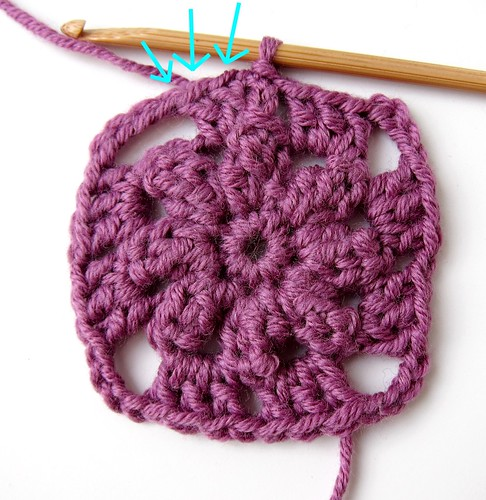 Crochet granny square and linen pincushion free tutorial 10