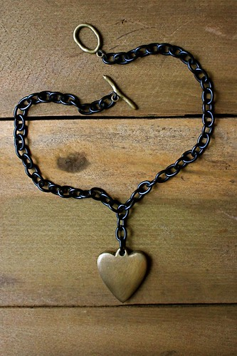 big brass heart necklace w/ black chain by denise carbonell