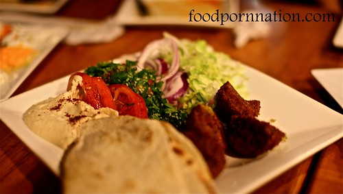 Falafel $11 - Served with special bread, hummus, tabouli and salad @ Sultan's Table, Enmore