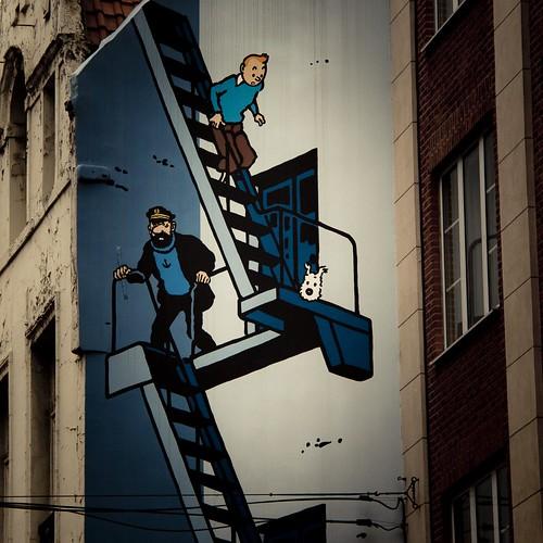 Tintin, Haddock, Milou (Bruxelles, Belgique) - Photo : Gilderic