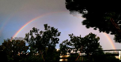 Rainbow after the storm. Evening of 21 January 2012, Saturday, Singapore