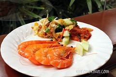 Prawns, Egg Salad, Kimchi etc