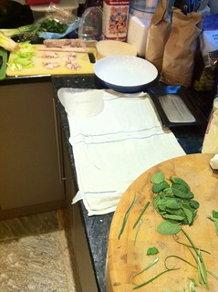 Set up for making spring rolls