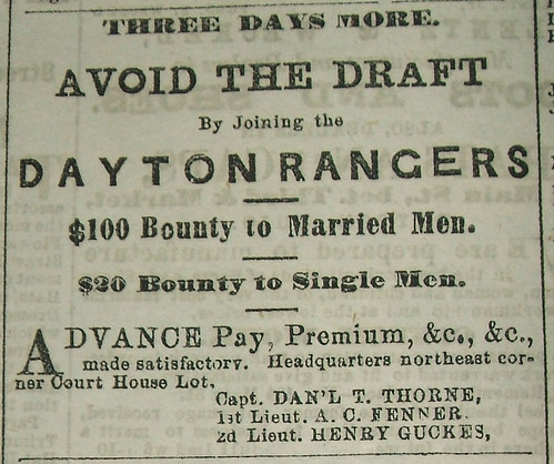 Recruitment ad for the Dayton Rangers in the Dayton Daily Journal, 15 Aug. 1862, pg. 2