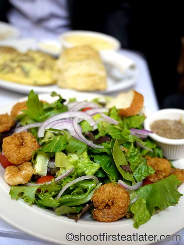 house salad with fried shrimp