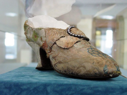 Silk brocade covered shoes